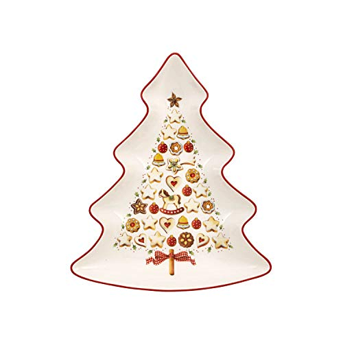 Villeroy & Boch Winter Bakery Delight Große Schale in Baum-Form, Premium Porzellan, Weiß/Rot -