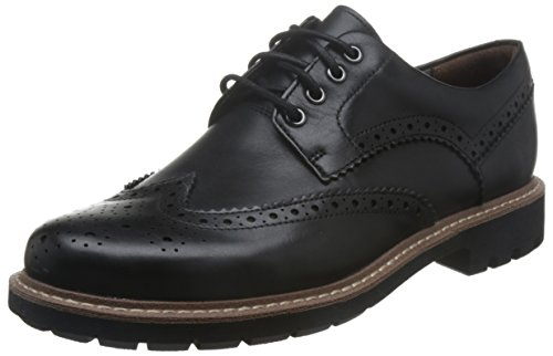 Clarks Herren Batcombe Wing Derbys, Schwarz (Black Leather), 40 EU (Stiefel Flache Hohe Schwarze)