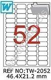 TANEX TW-2052 Hängeregister-Etiketten weiß 46,4 x 21,2 mm -abgerundet- 100 Bl. A4