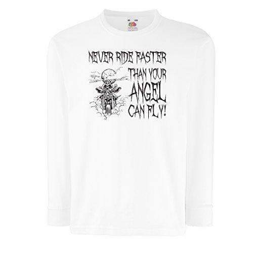 N4694D Kinder-T-Shirt mit Langen Ärmeln Motorrad-Angebote (3-4 Years Weiß Mehrfarben)
