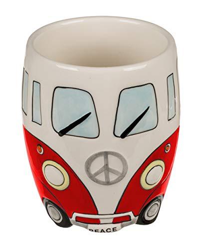 Haus und Deko Tasse Camper Bus Keramik-Becher Kaffeetasse Peace Hippie Bus Coffee Mug Cremeweiß...