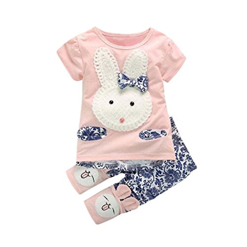 SHOBDW Girls Clothing Sets, Toddler Baby Pretty Bunny Outfit Embroidery Bowknot Short Sleeve T-Shirt Tops + Pants Kids Party Summer Clothes Gifts