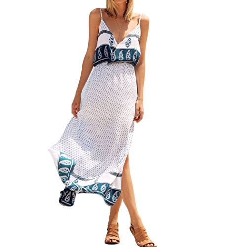 CRAVOG 2016 Damen Sommerkleid Party Strand Maxikleid Blau
