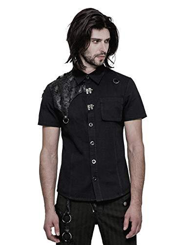Punk Rave Men's Black Gothic Casual Daily Short Sleeve Shirt M