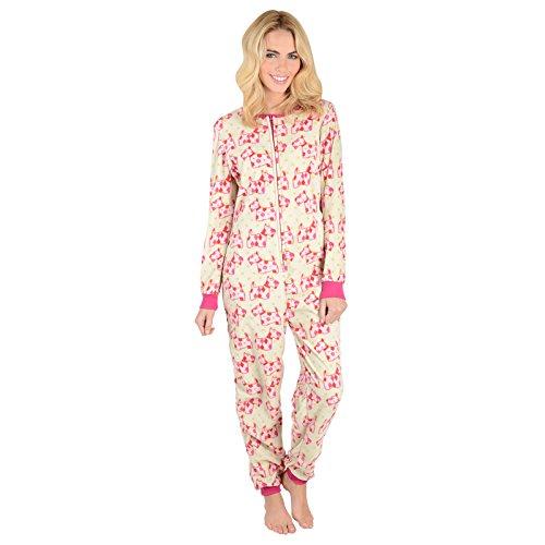 Ladies Scotty Dogs Fleece All In One Piece Pyjamas Onesie PJs Nightwear - XL
