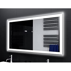 Badspiegel Designo MA4110 mit A++ LED Beleuchtung - (B) 120 cm x (H) 70 cm - Made in Germany - Technik 2019 Badezimmerspiegel Wandspiegel Lichtspiegel TIEFPREIS rundherum beleuchtet Bad Licht Spiegel