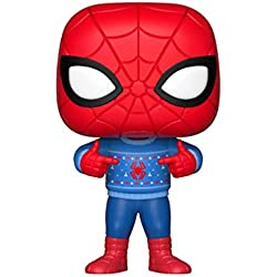 Funko – Pop.Color Marvel Color Holiday Spider-Man con Ugly Sweater (Bobblehead),, 33983