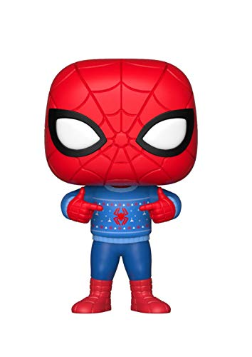 Funko - Pop.Color Marvel Color Holiday Spider-Man con Ugly Sweater (Bobblehead),, 33983
