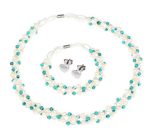 en Schmuck-Set in türkis bestehend aus Halskette, Armband und Ohrstecken, Zuchtperlen, mit Magnetverschlüssen, inklusive Geschenkbox ()