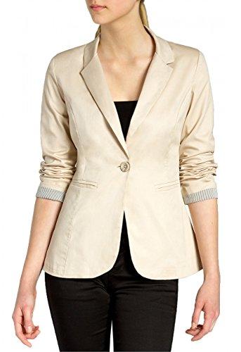 CASPAR BZR003 Damen leichter eleganter Sommer Blazer Damenblazer 3/4 Arm / Slim Fit, Farbe:beige;Größe:44 XXL UK16 US14