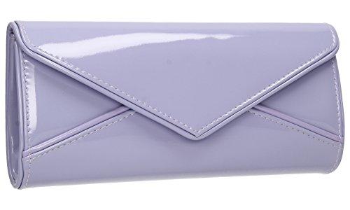 SwankySwans Perry Damen-Handtasche, Clutch, Briefumschlag-Stil, Lackleder Lila