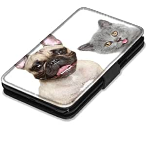 Chiens 10007, Chien et Chat, Noir Coque Housse Pochette Cover Coquille en Cuir avec Dessin Coloré et Fermeture Noir Magnetique pour Samsung Galaxy Note 2