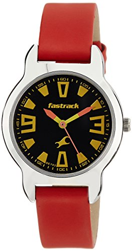 FASTRACK GIRLS LEATHER ANALOG RED WATCH - 6127SL01 image