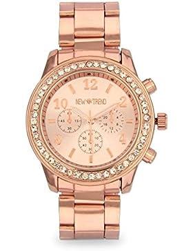 Designer Strass Kristall Roségold Damenuhr Uhr Chronograph Optik Rose Rosegold Gold Armbanduhr Rosengold Blogger...
