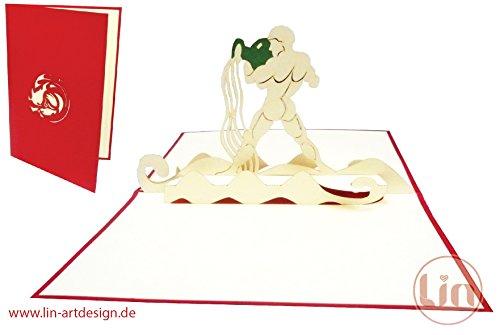POP UP 3D Karte Grußkarte Sternzeichen Wassermann - Karte Wassermann Geburtstag