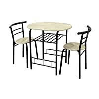 spot on dealz 0101-Modern black & Oak Dining Table and 2 Chairs Set Metal Frame Kitchen