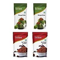 Suvidhi 2 Mango Pickle 200gm & 2 Red Thecha No Garlic 100gm (Combo of 4)