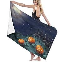 TZ Charming Maximum Softness 100% Polyester Bath Towels Full Moon Halloween Pumpkin Quick Drying Hand Towels Hand Towel Fitness Towel Bath Sheets, Machine Washable Women