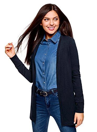 oodji Ultra Damen Verschlussloser Jersey-Cardigan, Blau, DE 44 / EU 46 / XXL