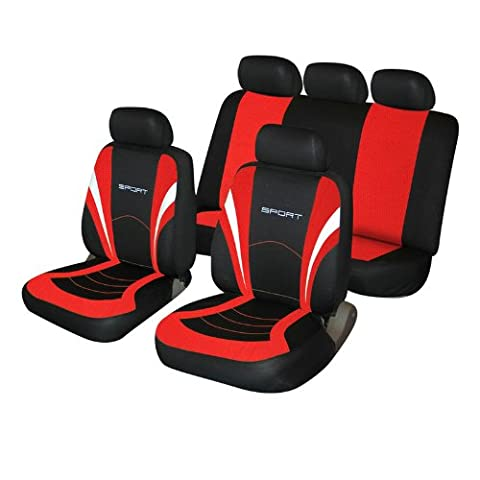Peugeot 106 107 206 207 Universal Red and Black Sports Style Fabric Car Seat Covers