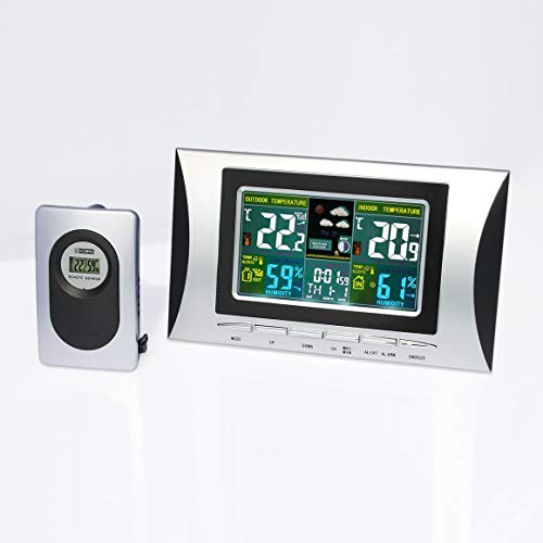 Funnyrunstore LCD électronique Horloge numérique hygromètre intérieur/extérieur Météo Horloge Prévisions,Noir Argent