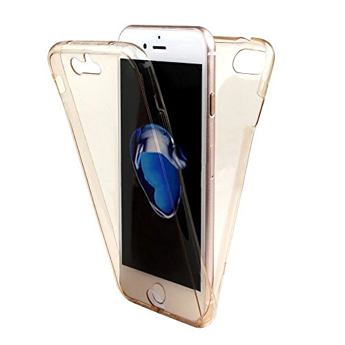 Coque Full Protecion iPhone 7 Plus 360° INTEGRAL Silicone Transparent Etui TPU Gel Souple Intégral Avant Arrière Protecteur Anti-Choc Housse Sunroyal® Ultra Mince Case Cover de Bumper Invisible pour i Full Coque -05