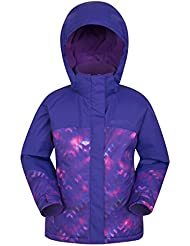Mountain Warehouse Flurry Printed Ski Jacket - Snowproof, Fleece Lining Kids Jacket, Integrated Snowskirt, Detachable Hood - Ideal Children's Coat For Snowboarding