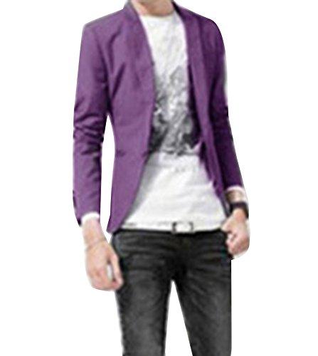 Runyue Herren Nehmen Passender Beiläufiger EIN Knopf Stilvoller Anzug Jacken Mantel Blazer ab Geschäft Anzugjacken Lila L