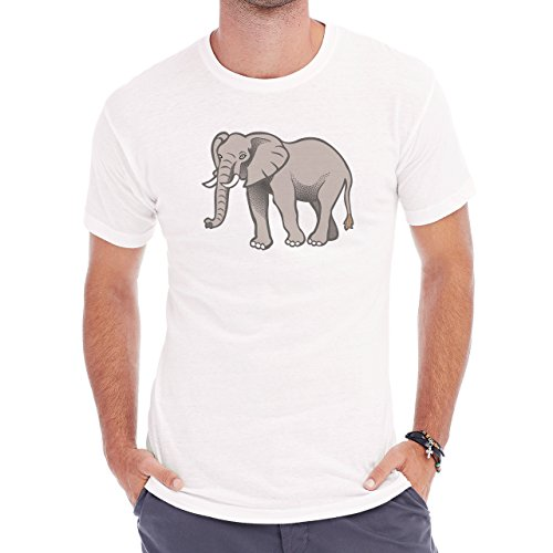 Big Elephant Grey Green Eyes Herren T-Shirt Weiß