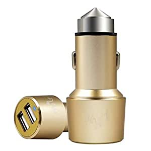 Meyako Rapid Dual USB Ports Car Charger Real High Quality 3.1Amps / 15W with Car Escape Emergency Safety Hammer Function (Gold)