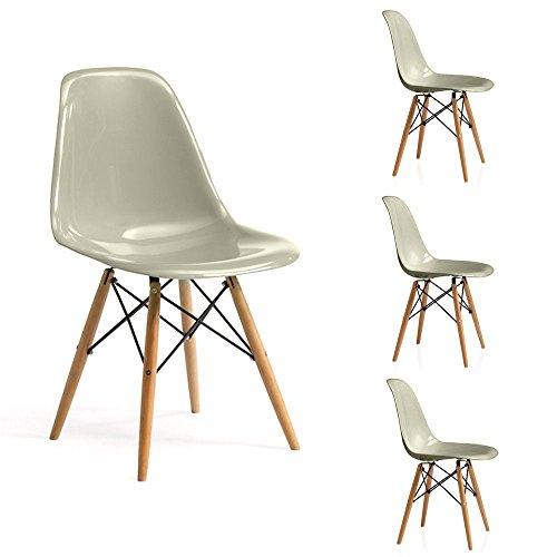 - Senza marca/Generico - - sans Marque/Générique – x4 chaises Assise ABS Sable Pieds en Bois Massif ameublement intérieur Design Topaz/S