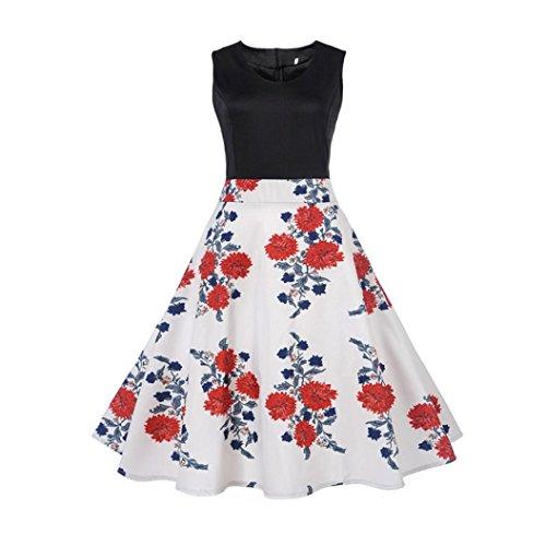 OVERDOSE Damen Blumen Vintage 1950er Ärmellos Casual Abend Partei Abschlussball Schwingen Kleid Cocktailkleid Rockabilly Kleid(A-White 3,EU-38/CN-M) (Beanie Knit Loose)