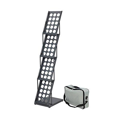 Falt-vier (DISPLAY SALES Falt-Prospektständer 4 x DIN A4 schwarz inklusive Transporttasche | Faltbarer Prospekthalter aus Metall mit 4 Ablagen)