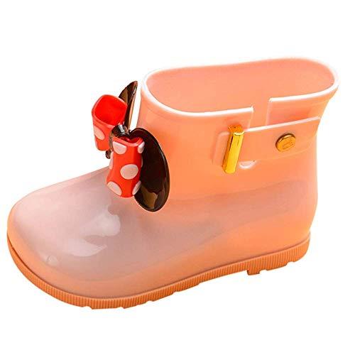 Bobopai Kids Baby Girls Dots Bowknot Rubber Waterproof Rain Boots