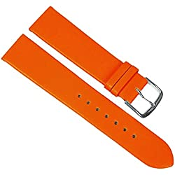 Replacement Watch Strap Calf Leather Band Orange 23246S, Bar Width: 10 mm