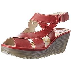 Fly London P500737004, Sandalias de Cuña Mujer, Rojo (red 002), 38 EU