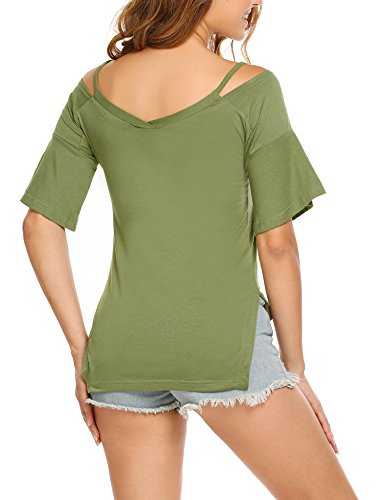 Finejo Damen Sommer Kurzarm T-Shirt Casual Oberteil Tops Bluse Shirt E+Armeegrün