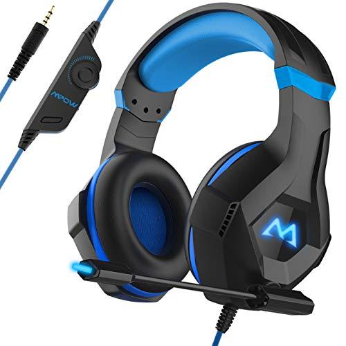 Mpow EG9 Auriculares Gaming PS4,Luz RGB, Sonido Envolvente, Auriculares con Micrófono de Cancelación de Ruido, para PS4,PC,Xbox One,para Nintendo Switch, Wii, Móviles, Cable 2.2m Diadema Ajustable