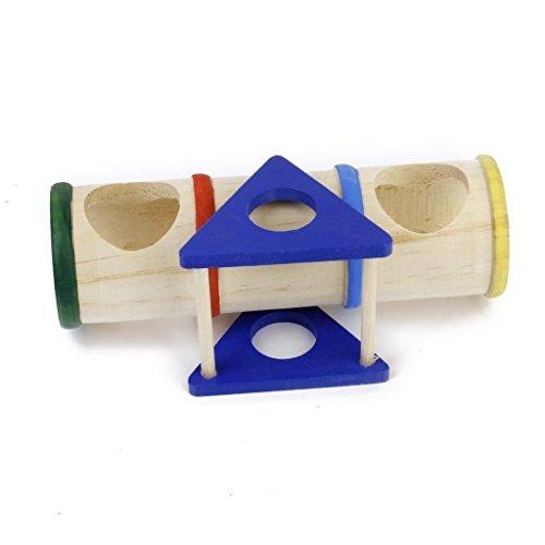 Soccik Natürliche Holz Hamster Spielzeuge Wippe Tunnel Hamster Kleintier Wippe Hamster Tunnel Spielzeug Karo Zylinder Holz Wippe Spielzeug Für kleine Tiere Wie Zwerg Hamster Und Maus