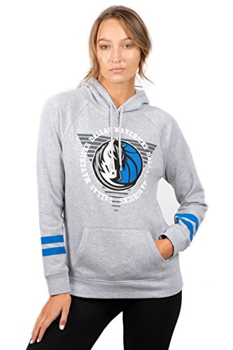 UNK NBA Damen Fleece-Kapuzenpullover Varsity Stripe, Grau, Damen, FHL3590F, grau, Large - Dallas Mavericks Team Fleece
