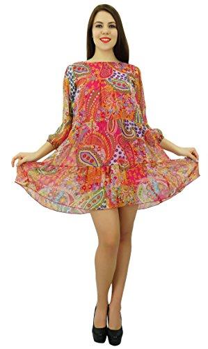 Phagun été Georgette Chiffon Dress Women Dress Casual - Choisir Taille Rose et vert