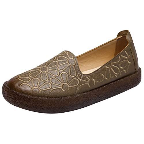 Vogstyle Damen Retro Leder Atmungsaktiv Flach Weich Schuhe (41/42 EU, Art 2-Khaki) - Retro Khaki