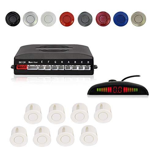 CoCar Auto Rückfahrwarner Einparkhilfe 8 Sensoren Einparkassistent Einparksystem PDC + LED Anzeigen + Akustische Warnung - Weiß