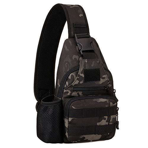Huntvp Taktisch Brusttasche Military Schultertasche mit Wasserflasche Halter Chest Sling Pack Molle Armee Crossbody Bag Militärisch Umhängetasche für Wandern Camping - Typ-2 Camo