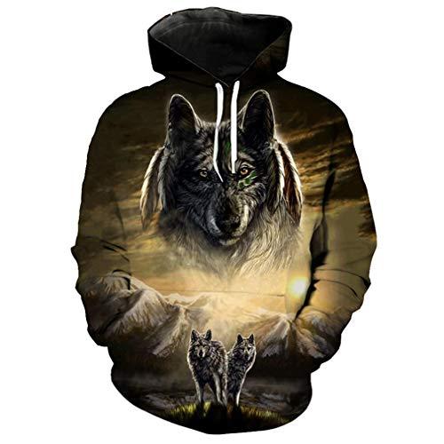 Feuer-jugend-t-shirt (ks&DES Herren Casual Pullover Schnee Mountain Grassland Wolf Print Mode 3D Sweatshirt LA2112 4XL)