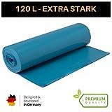Extra Starke Müllbeutel 120 Liter - Reißfeste Müllsäcke XXL Typ 100 - 25 STÜCK je Rolle - Stabile Mülltüten blau für Haushalt, Baustelle und Gastronomie als Abfallsack (Blau, 1 Rolle)