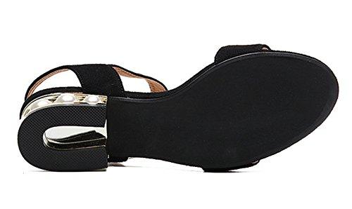 Aisun Femme Mode Talon Moyen Bout Ouvert Sandales Noir
