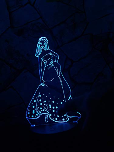 3D LED New Night Light   7 Farben ändern Princess Beautiful Elegantes Mädchen mit Rock LED Tischlampe als Kinder Weihnachtsgeschenke