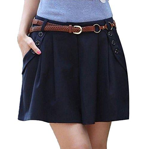 Minetom Damen Maedchen Elegant Hot Kurz Hosenrock Shorts OL Pants Hose Stoffhose Business Blau EU S