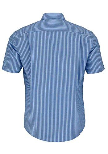 CASAMODA Comfort Fit Hemd Halbarm mit Besatz Streifen mittelblau Mittelblau